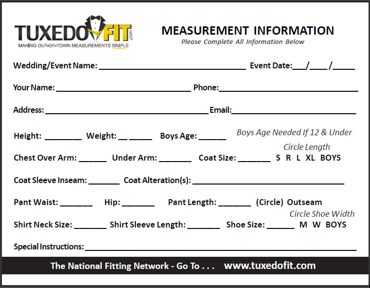 Measurement Form Rose Tuxedo Wedding Tuxedo Quince
